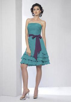 Strapless A line Natural Waist Chiffon Above Knee Bridesmaids With Sash/ Ribbon - Lunadress.co.uk