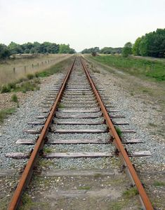 One point or single point perspective of railroad tracks.