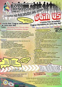 "LPM SITUS FIB UNAIR PRESENT : Pekan Jurnalistik 2013 ""Membentuk Insan Muda Berbudaya Lewat Jurnalistik""  LOMBA ESAI TINGKAT MAHASISWA Se Jawa dan Bali Tema : ""Revitalisasi Peran Pemuda dalam Menjawab Permasalahan Bangsa""  http://eventsurabaya.net/pekan-jurnalistik-2013-lomba-esai-lomba-foto/"
