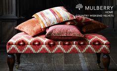 Mulberry Velvets. Footstool: FD677-V88, Cushions: FD695-V146, FD679-V96, FD678-V88, FD678-M30 #design #interiors #fabrics