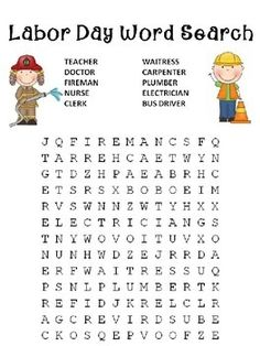 Christi's Creative Conner is providing a fun free Labor Day Word Search. Holiday Activities, Holiday Crafts, Learning Activities, Activities For Kids, Activity Ideas, Educational Activities, Fall Crafts, Labor Day Crafts, Labor Day Holiday
