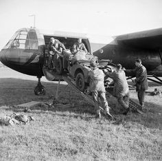 A jeep is loaded aboard a Horsa glider during a large-scale airborne forces exercise, 22nd April 1944