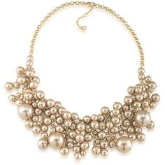 Carolee Union Square Statement Necklace (€92) ❤ liked on Polyvore featuring jewelry, necklaces, gold, pearl jewelry, carolee necklace, lobster clasp necklace, artificial jewellery and pearl jewellery