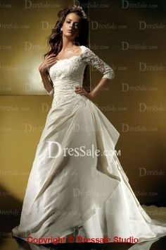 Illusion 1/2 Sleeves Applique Satin Gowns with Side-draped Skirt For Brides