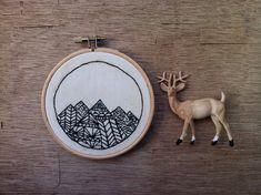 Mountain Hand Stitched Embroidery Hoop Art