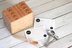 Heirloom Recipe Box And Cards - Aztec Tribal Pattern Design Wooden Engraved…
