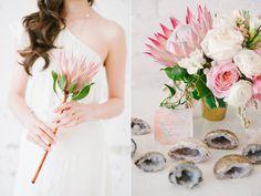 protea floral arrangements - photo by Blush Wedding Photography http://ruffledblog.com/modern-tropical-wedding