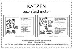 Cats: reading and painting - Writing Games, German Grammar, Cat Reading, Learn German, Dyslexia, First Grade, Diy For Kids, Teaching Resources, Lesson Plans