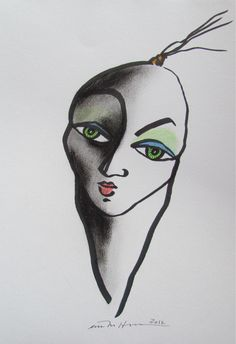 Åse Margrethe Hansen. Face it! Ink, charcoal, color pencil, 2012