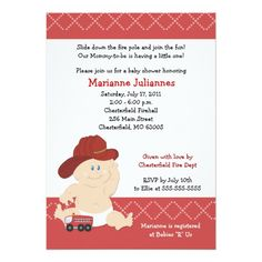 5x7 BABY FIRE FIGHTER Baby Shower Invitation