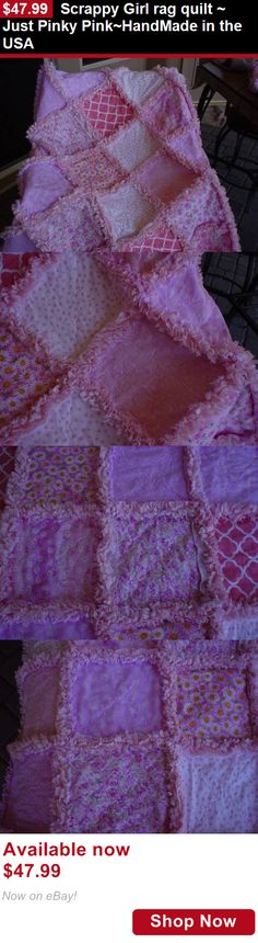 Quilts And Coverlets: Scrappy Girl Rag Quilt ~ Just Pinky Pink~Handmade In The Usa BUY IT NOW ONLY: $47.99