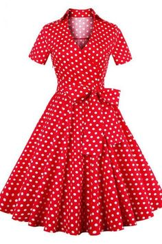 50s Vintage Rockabilly Polka Dots Dress Red Dress Mid-Length Dress Cocktail Dress Party Dress