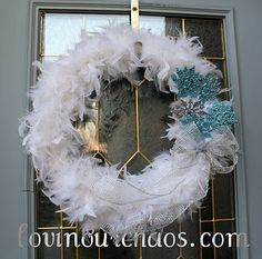 Winter Feather Wreath - Lovin' Our Chaos Pink Christmas, Winter Christmas, Christmas Wreaths, Christmas Decorations, Winter Wreaths, Holiday Decor, Feather Wreath, Feather Crafts, Wreath Tutorial