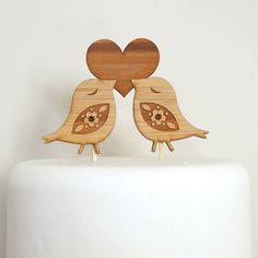 Love Birds Cake Topper - Bamboo - Wedding Cake Topper - Rustic Wedding - Modern Wedding