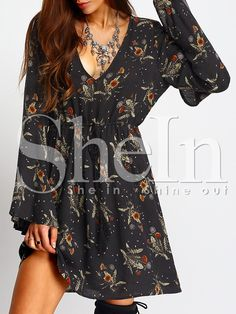 Shop Bell Sleeve Deep V Neck Tie-Waist Floral Dress online. SheIn offers Bell Sleeve Deep V Neck Tie-Waist Floral Dress & more to fit your fashionable needs.