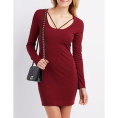 Charlotte Russe Ribbed Strappy Bodycon Dress ($25) ❤ liked on Polyvore featuring dresses, wine, long-sleeve cut-out dresses, charlotte russe dresses, ribbed knit dress, body con dress and red long sleeve dress