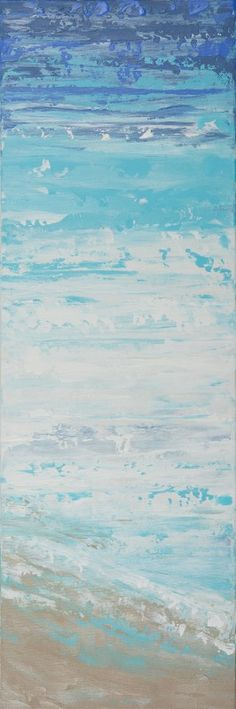 """""""Abstract Sky Sea and Sand Beach"""" by QIQIGallery 36""""x12"""" Original Painting"""