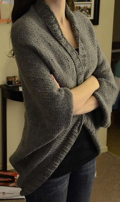 Free knitting pattern for Easy Speckled Shrug