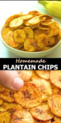 Green Plantain Recipes, Plantain Chips Recipe, Baked Plantain Chips, Savory Snacks, Lunch Snacks, Vegan Snacks, Vegan Crockpot Recipes, Vegetarian Recipes, Cooking Recipes