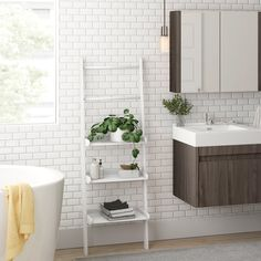 New Macie 20 W x H x 12 D Free-Standing Bathroom Shelves by Zipcode Design storage-sale. Fashion is a popular style Zen Bathroom, Steam Showers Bathroom, Family Bathroom, Bathroom Shelves, Bathroom Colors, Bathroom Sets, White Bathroom, Bathroom Storage, Small Bathroom