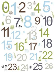 Modern Numbers Children's Art Print in green, brown, gray and blue