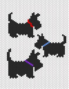Little Scottie dog pattern chart, great for making crochet corner to corner blanket, or afgan. This could be used as a Graphgan pattern Hama Beads Patterns, Beading Patterns Free, Peyote Patterns, Kandi Patterns, Knitting Charts, Knitting Patterns, Cross Stitch Charts, Cross Stitch Patterns, Cross Stitching