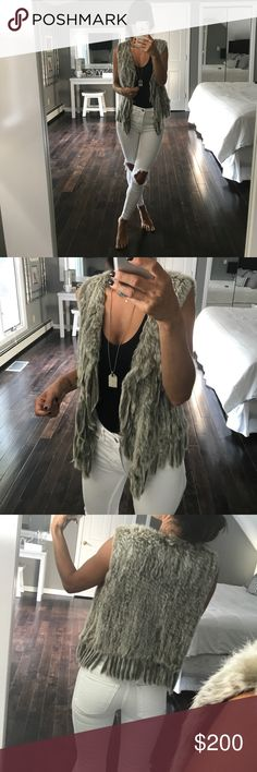 Romeo & Juliet Couture Fur Vest Gray Medium Incredibly soft. Gray real fur vest. Shorter in the back and longer at the sides. Romeo & Juliet Couture Jackets & Coats Vests