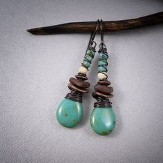 rustic glass and copper earrings wire wrapped drop by entre2et7