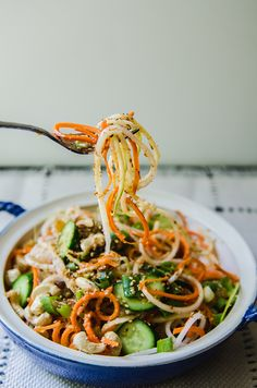 Daikon And Carrot Noodle Salad With Sesame Ginger Dressing by @SoLetsHangOut…