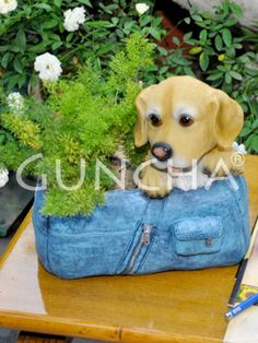 Puppy in a bag!! Place your favourite flower plant in this attractive planter and add to the overall look of you room.