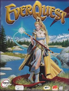Cover art for the 1999 Everquest game by Parkinson, starring Firiona Vie. From http://www.writeups.org/everquest-1-progression-project-1999-solo-guide/