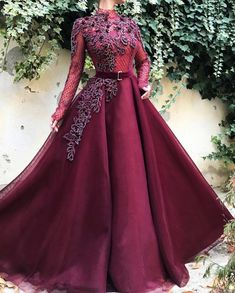 Lace to Love TMD Gown : Details - Wine color - Classic honeycomb Mesh fabric - Handmade embrodered crystals and flowers - Ball-gown style - Party dress Evening dress Weeding dress Hijab Evening Dress, Evening Dresses, Prom Dresses, Dress Prom, Elegant Dresses, Pretty Dresses, Dress Wedding, Party Wedding, Kimono Outfit