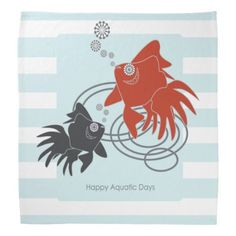 Funky Cute Red and Black Goldfish Pretty Bandanas - Happy Aquatic Days