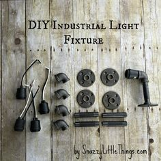 DIY Industrial Light Fixture for the Master Bathroom (with drawings and an how-to guide) -- by SnazzyLittleThings.com