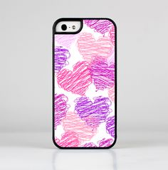 The Loopy Pink and Purple Hearts Skin-Sert for the Apple iPhone 5-5s Skin-Sert Case