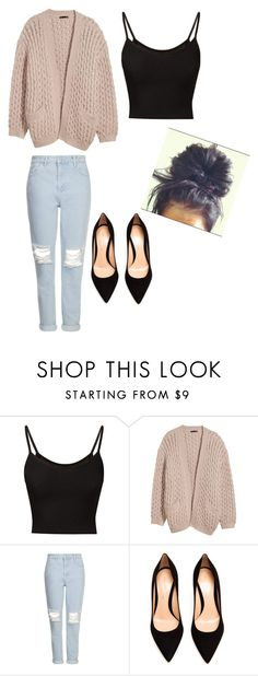 """Just the casual....!"" by dannyaguilar ❤ liked on Polyvore featuring moda, H&M, Topshop, Gianvito Rossi, women's clothing, women, female, woman, misses e juniors"