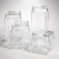 One of my favorite discoveries at WorldMarket.com: Stackable Square Glass Jars with Lids