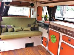Westy interior - that orange is killing me! Transporteur Volkswagen, Volkswagen Interior, Bus Interior, Campervan Interior, Interior Ideas, Vw T3 Syncro, T3 Vw, Vw T3 Camper, Camper Van