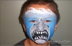 Tiger Face Painting *or the fluke from X-Files, you make the call* Shark Face Painting, Belly Painting, Animal Face Paintings, Animal Faces, Face Painting Designs, Paint Designs, Halloween Meninas, Tiger Face Paints, Anime Makeup