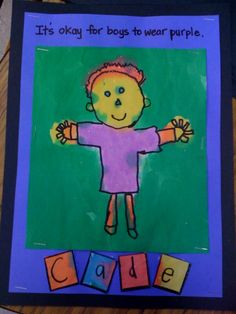 """Kindergarten ~ watercolor & permanent marker ~ Artwork inspired by Todd Parr's    book """"It's okay to be different""""."""