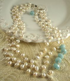 Pearls and Faceted Blue Quartz Necklace by TJDbyIris on Etsy, $185.00