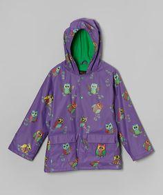 Look at this #zulilyfind! Purple Owls Raincoat - Infant, Toddler & Girls by Foxfire #zulilyfinds