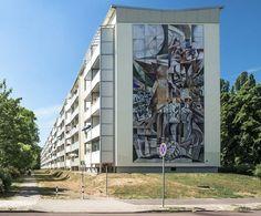 """""""Er rührte an den Schlaf der Welt"""" a mural in Halle-Neustadt (Germany)."""
