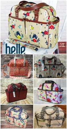 Diaper bag, travel bag or large purse sewing pattern. Belle Baby Bag from Swoon patterns.