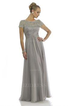 A-Linie/Princess-Linie Juwel-Ausschnitt Bodenlang Chiffon Brautmutterkleider