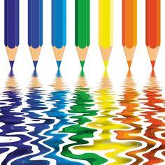 Door het vormcontrast worden de kleurpotloden interessant!