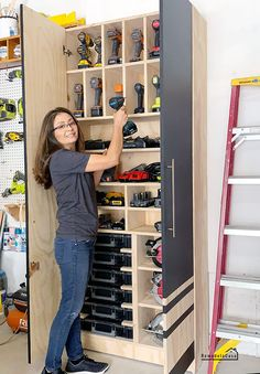 Garage Organization - Charging Station + Tool Storage Cabinet - - Charging station + Tool storage = An organized shop - Garage Tool Storage, Garage Storage Cabinets, Garage Tools, Shed Storage, Diy Storage, Storage Ideas, Tool Cabinets, Record Storage, Garage Workshop Organization