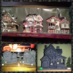 Christmas village + black spray paint= creepy haunted village