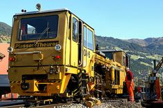 A Plasser & Theurer Schlitters Work Train, Network Rail, Road Construction, Train Rides, Heavy Equipment, Locomotive, Railroad Tracks, Yards, Trains
