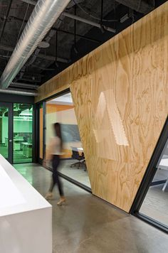 """holes drilled and backlit to form """"A"""" for autodesk logo Autodesk Offices - Denver - 5"""